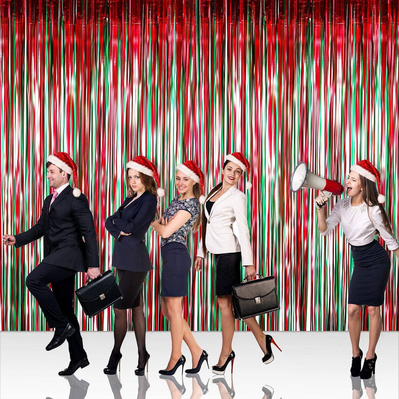 4 Packung Folie Vorh/änge Metallic Fringe Vorh/änge Schimmer Vorhang f/ür Geburtstag Hochzeit Weihnachten Schmuck Rot