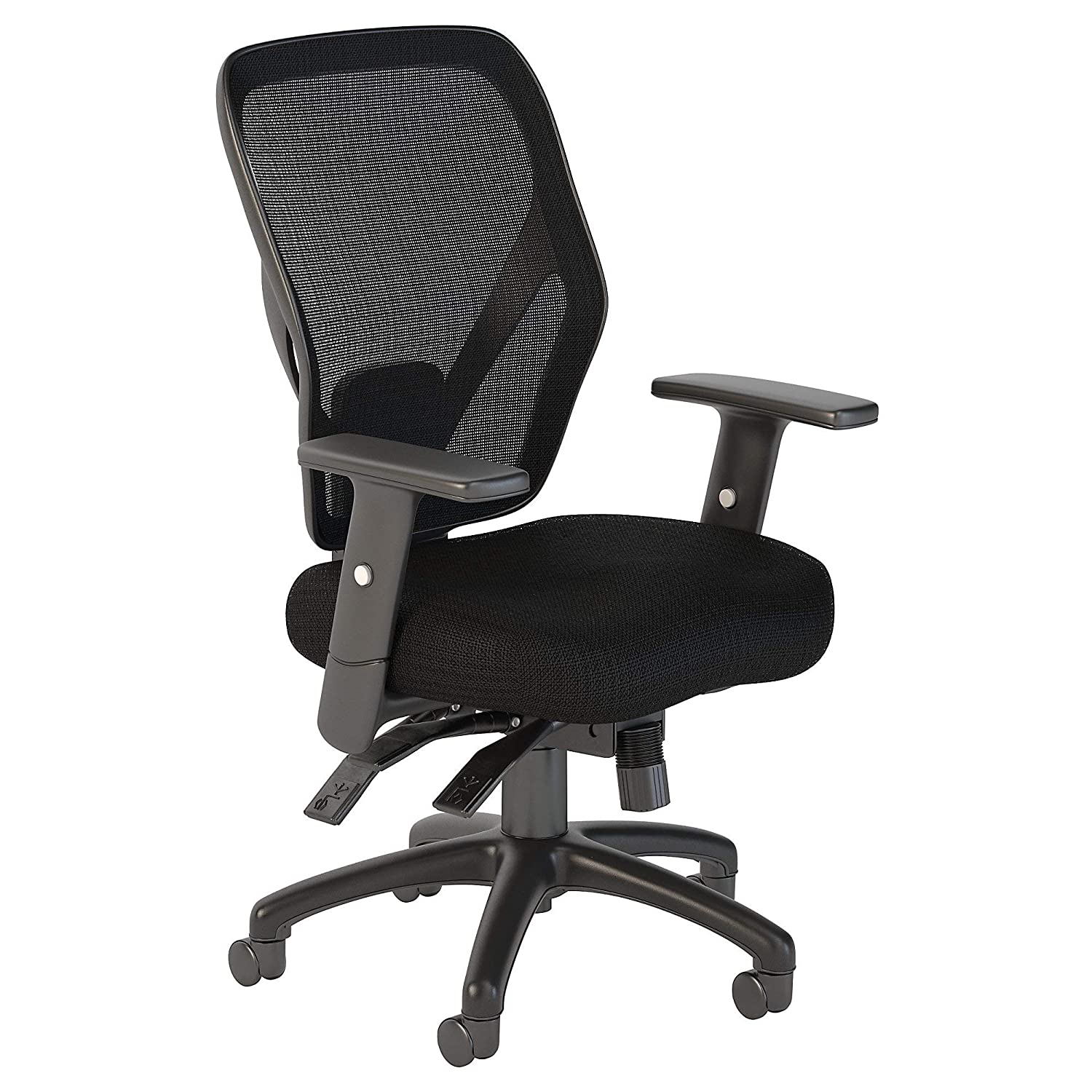 Bush Business Furniture Corporate Mid Back Multifunction Mesh Office Chair in Black