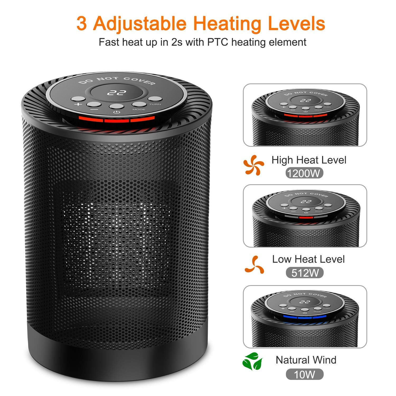 for Home Office Use Portable Electric Heater Fan with Adjustable Thermostat Auto Oscillate Tip-Over and Overheat Protection NEXGADGET 1200W/600W Ceramic Space Heater Carrying Handle