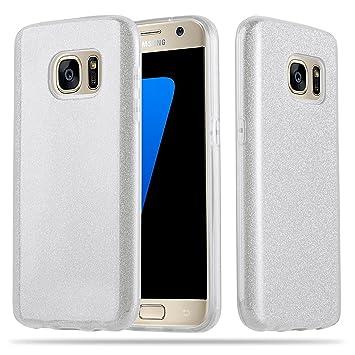 Coovertify Funda Purpurina Brillante Plateada Samsung S7, Carcasa resistente de gel silicona con brillo gris Plata para Samsung Galaxy S7 (5,1