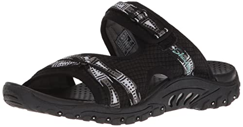 04548808b32 Skechers womens reggae fizzle adjustable webbing slide sandal black jpg  500x262 Skechers reggae black women