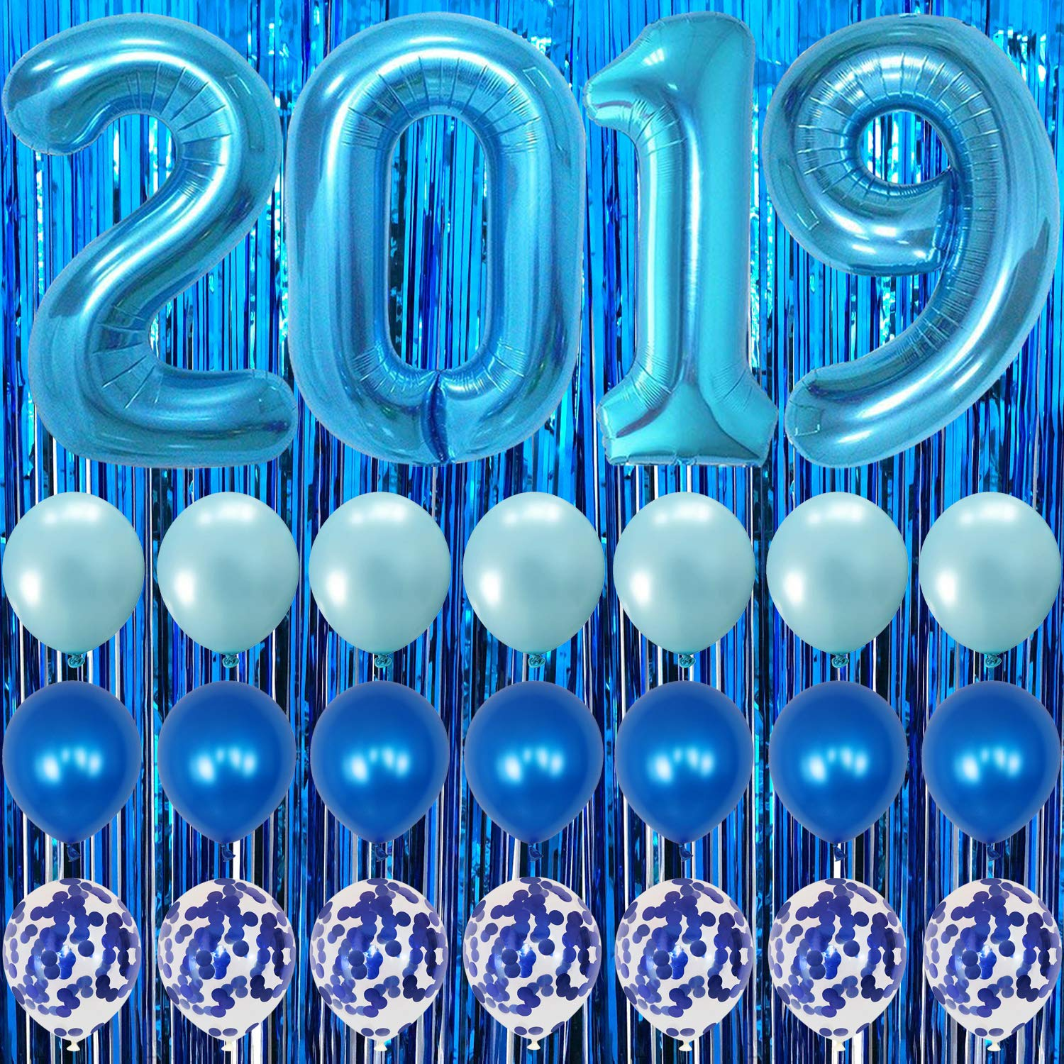 Blue Graduation Party Supplies 2019 - Blue Foil Fringe Curtain Backdrop | Large Blue 2019 Balloons | 7 Blue Confetti Balloons | 7 Blue Latex Balloons | 2019 Graduation Decorations Blue and White