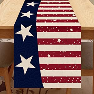 Seliem American Star Stripe Table Runner, Patriotic Red White Blue Table Scarf Home Kitchen July 4th USA Decor Sign, Summer Memorial Day Farmhouse Dining Decoration Independence Day Party Supply 13X72