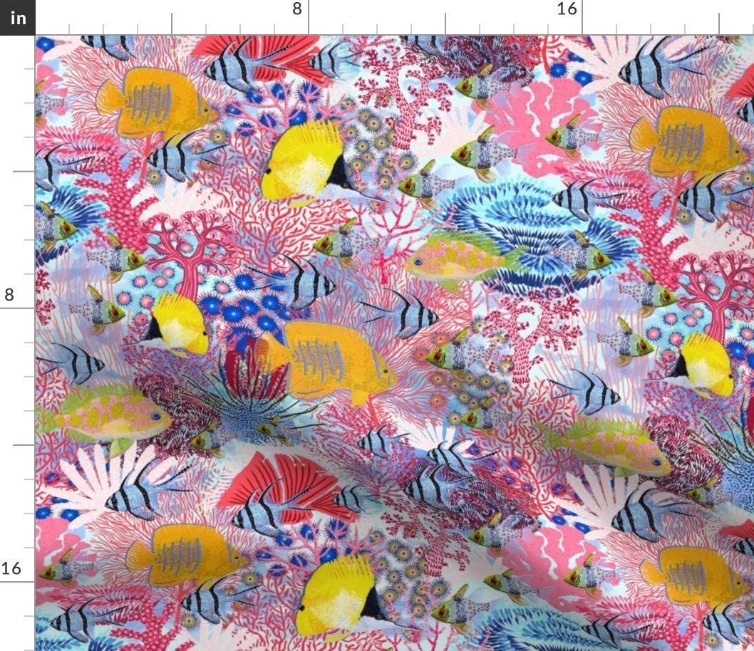 Spoonflower Fabric - Coral Reef Underwater Life Seaweed Great Endangered Species Nautical Printed on Basketweave Cotton Canvas Fabric by The Yard - Upholstery Home Decor Bottomweight