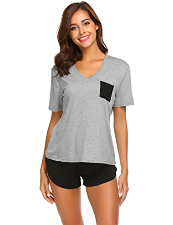 75aa03c8674379 Damen Schlafanzug Sommer Frauen Pyjama Shorty Mit Shorts & Shirt Nachtwäsche  Kurzarm Sleepwear