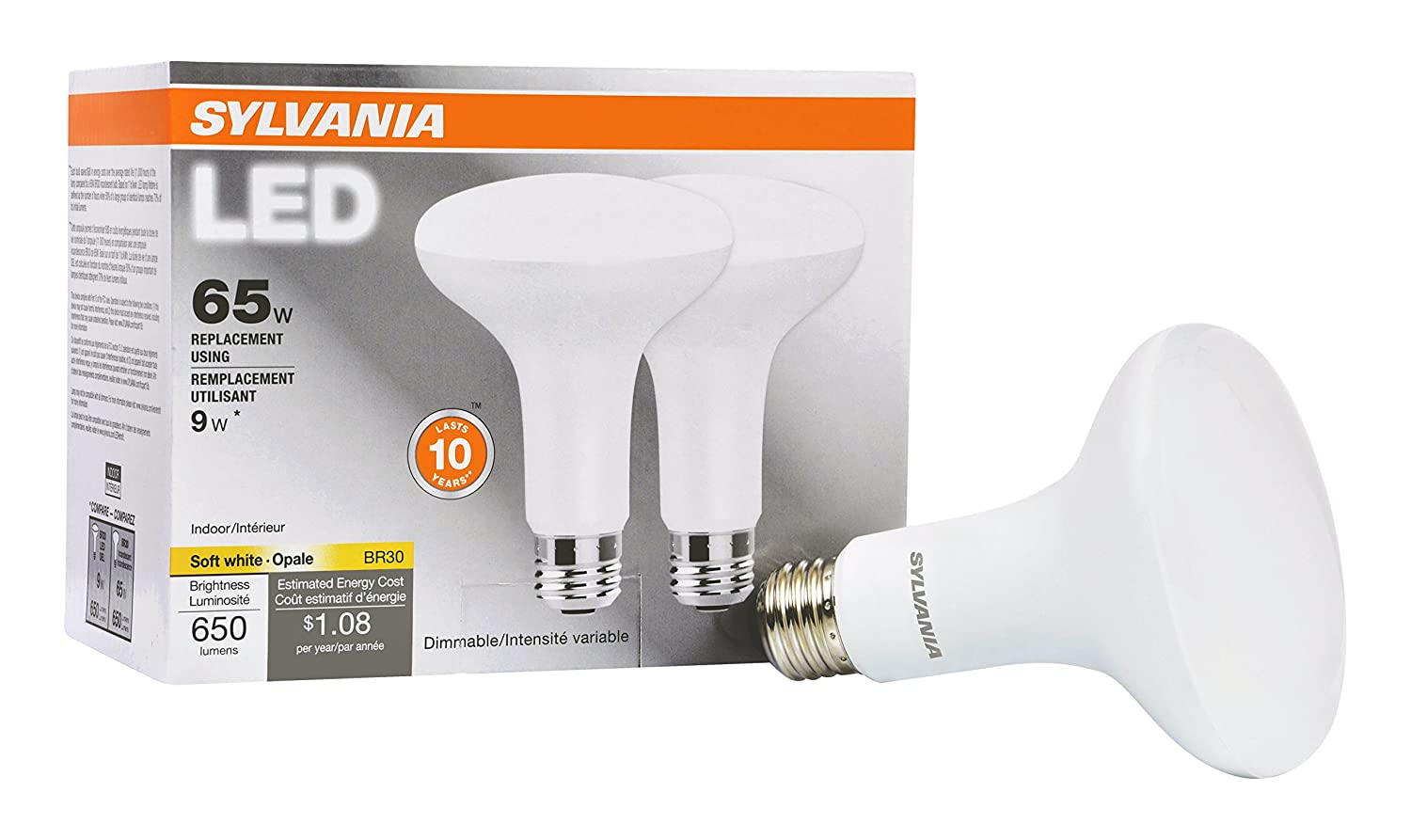SYLVANIA, 65W Equivalent, LED Light Bulb, BR30 Lamp, 2 Pack, Soft White, Energy Saving & Dimmable, Value Series, Medium Base, Efficient 9W, 2700K