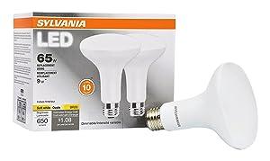SYLVANIA, 65W Equivalent, LED Light Bulb, BR30 Lamp, 2 Pack, Soft White, Energy Saving & Dimmable, Value Series, Medium Base, Efficient 9W, 2700K