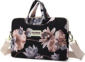 Dachee Black Lotus Patten Waterproof Laptop Shoulder Messenger Bag Case Sleeve for 11 Inch 12 Inch 13 Inch Laptop