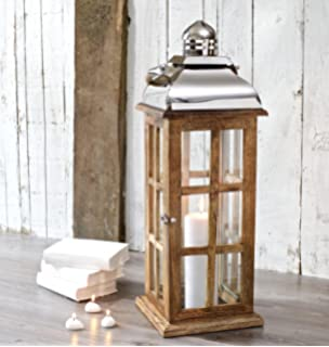 Candle Lantern Wood Extra Tall   Decorative Garden Wedding   Indoor Outdoor    70 Cm H