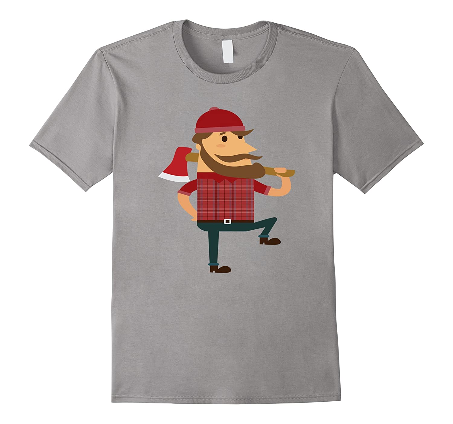 Lumberjack T-Shirt Hipster Mountain Man Flannel Axe Tee-FL
