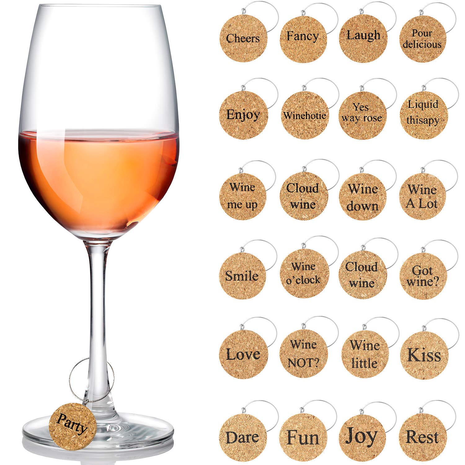 24 Pieces Wine Glass Charms Markers Drink Markers for Wine Glass Champagne Flutes Cocktails, Martinis (Wooden) by Maitys