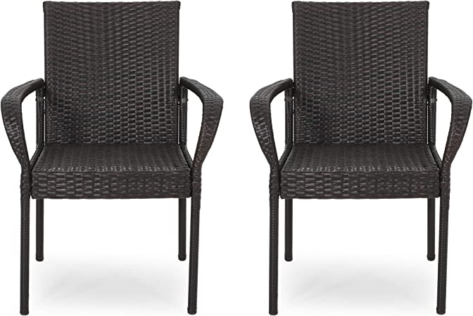 Amazon Com Janet Outdoor Contemporary Wicker Dining Chair Set Of 2 Multi Brown Kitchen Dining
