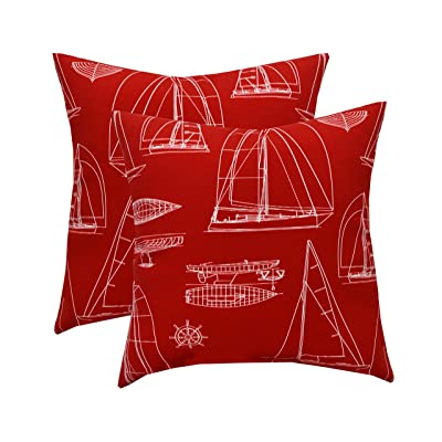 "RSH Decor Set of 2 Indoor/Outdoor 17"" Square Decorative Throw Pillows - Red & White Sailboats : Garden & Outdoor"