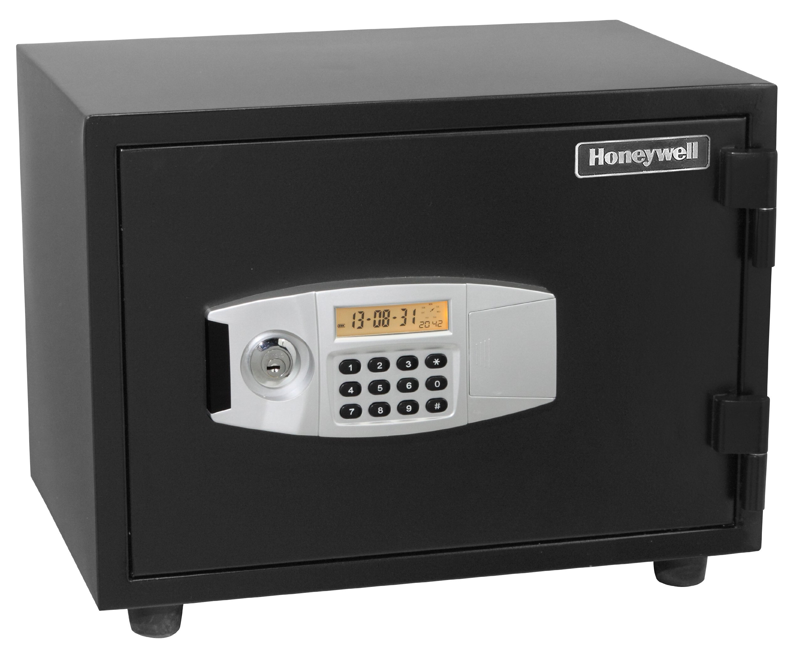 Honeywell 2112 Steel Fireproof/Waterproof and Security Safe with Dual Digital Lock and Key Protection, 0.57-Cubic Feet, Black