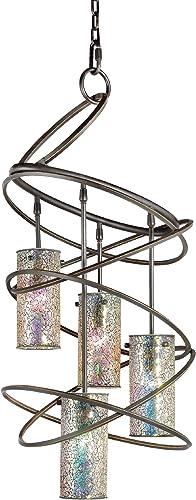 Woodbridge Lighting 12514BLK-M10IRI Loop 4-Light Chandelier, 18-1 2-Inch by 35-1 2-Inch, Black