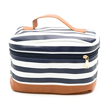 83b3101ffad4 Navy Striped Cosmetic Bag, Toiletry Bags for Makeup and Cosmetics, Travel  Case (Large, Navy Striped)