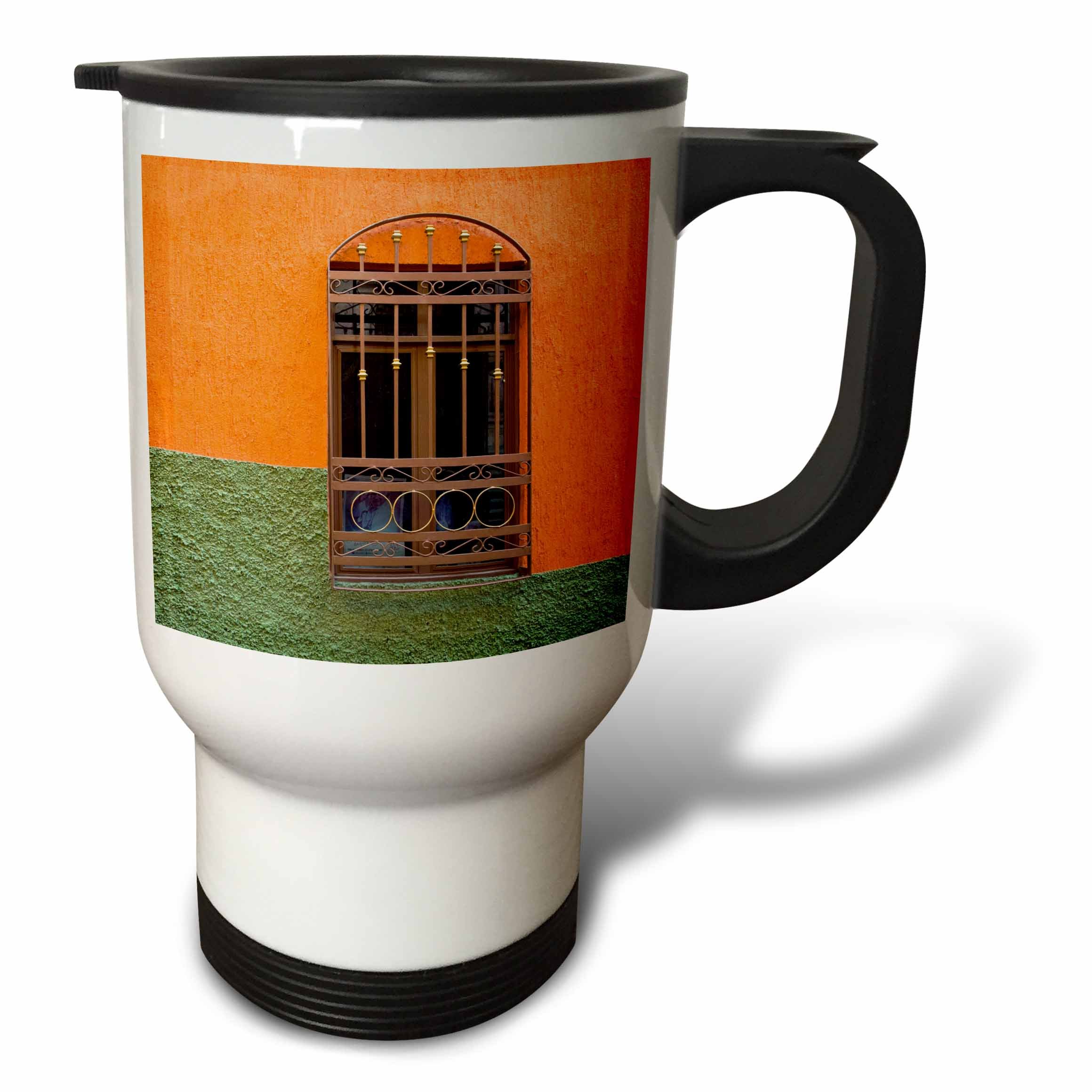 3dRose Danita Delimont - Architecture - Mexico, Guanajuato, Ornate window in a colorful back alley - 14oz Stainless Steel Travel Mug (tm_278308_1)
