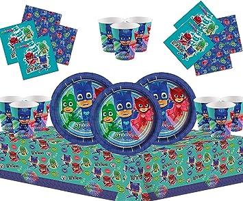 PJ Masks Party Vajilla Kit de Fiesta Infantil de cumpleaños para 16 - Globos, Bomba, Velas Gratis
