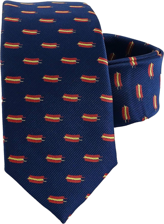 Corbata de hombre azul bandera española - Corbata azul con bandera españa - Corbata azul con bandera española - Corbatas de hombre calidad alta - Corbata estrecha (Azul bandera pequeña): Amazon.es: Ropa y accesorios