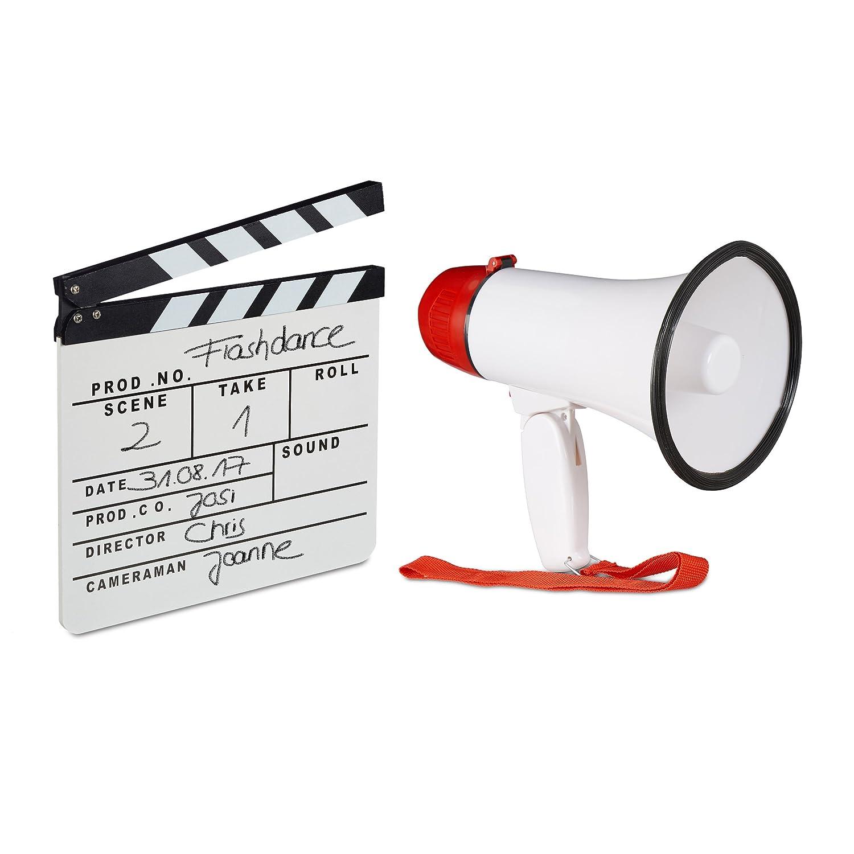 2 tlg. Film-Set, Megafon Stadion, Filmklappe weiß , Flü stertü te 10 Watt, Regieklappe Holz, Megaphon Ole Sound, Clapboard relaxdays