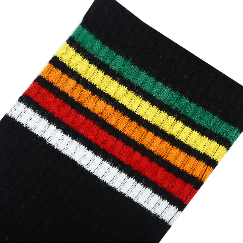 Womens Rainbow Crew Socks Stripes Casual Socks Cotton Hipster Dress Socks 3 Pairs