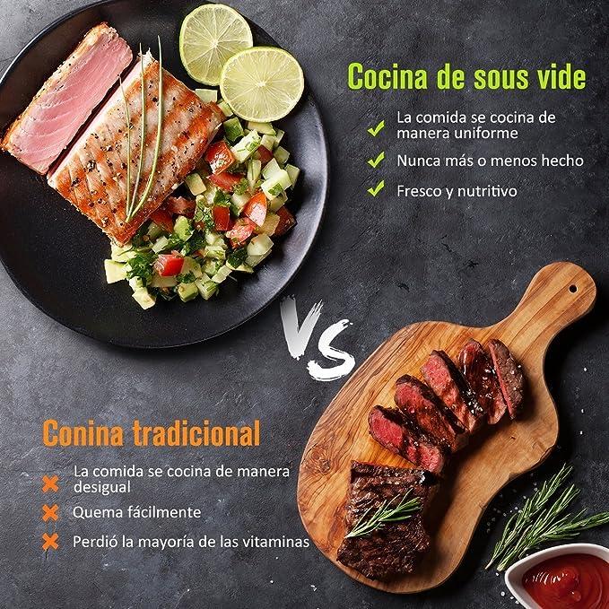 OMORC Sous Vide, Cocina Precisión, Circulación de la Temperatura, Cocinero Circulador, Silencioso y Preciso, Fácil Lavable, Mantiene la Comida de Sabores Auténticos y Naturales: Amazon.es