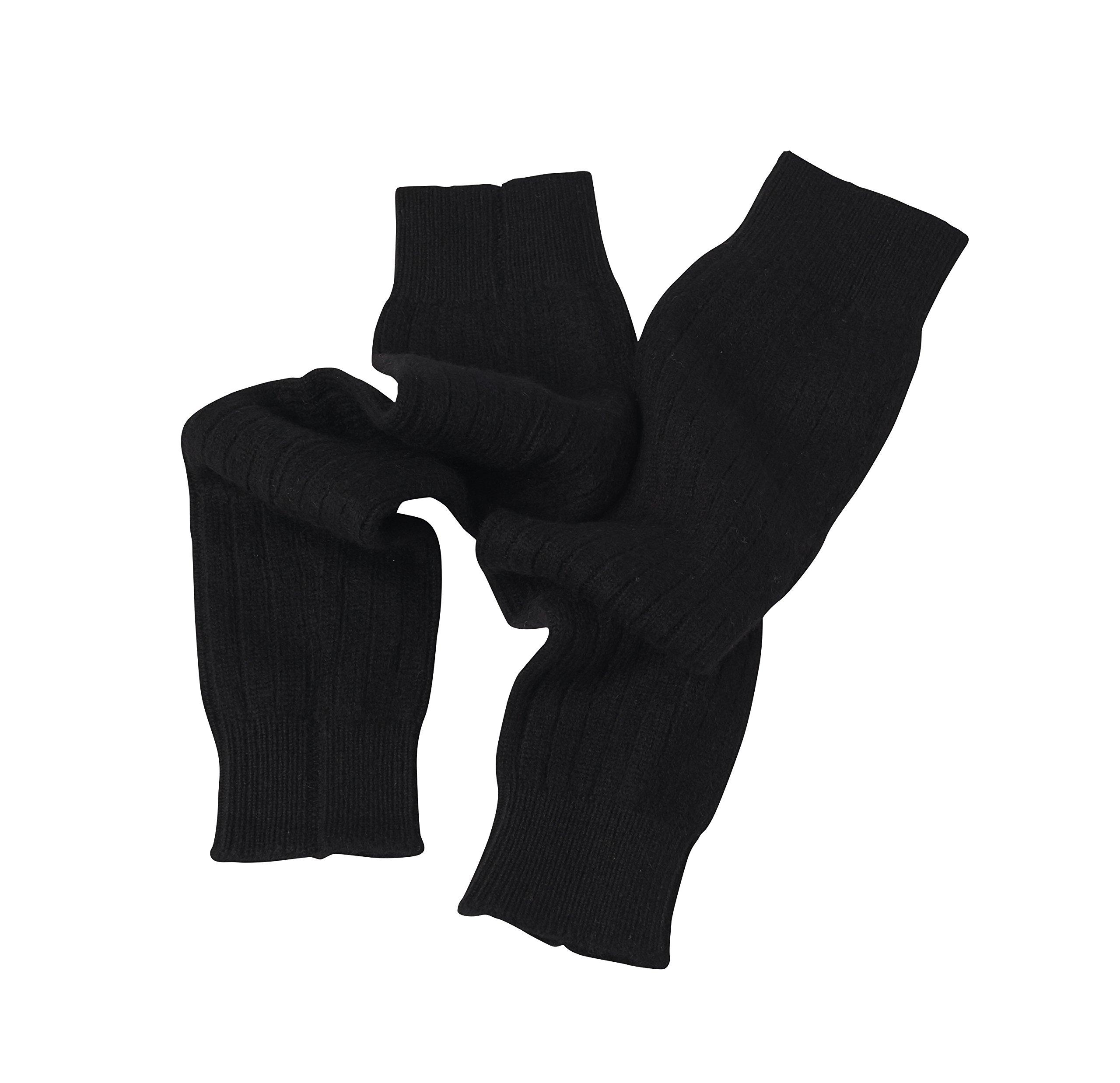 Cashmere Boutique: 100% Pure Cashmere Leg Warmers (Color: Black, Size: One Size) by Cashmere Boutique
