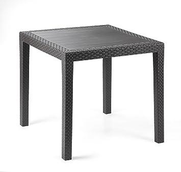IPAE Progarden Table de jardin gris anthracite en plastique aspect ...