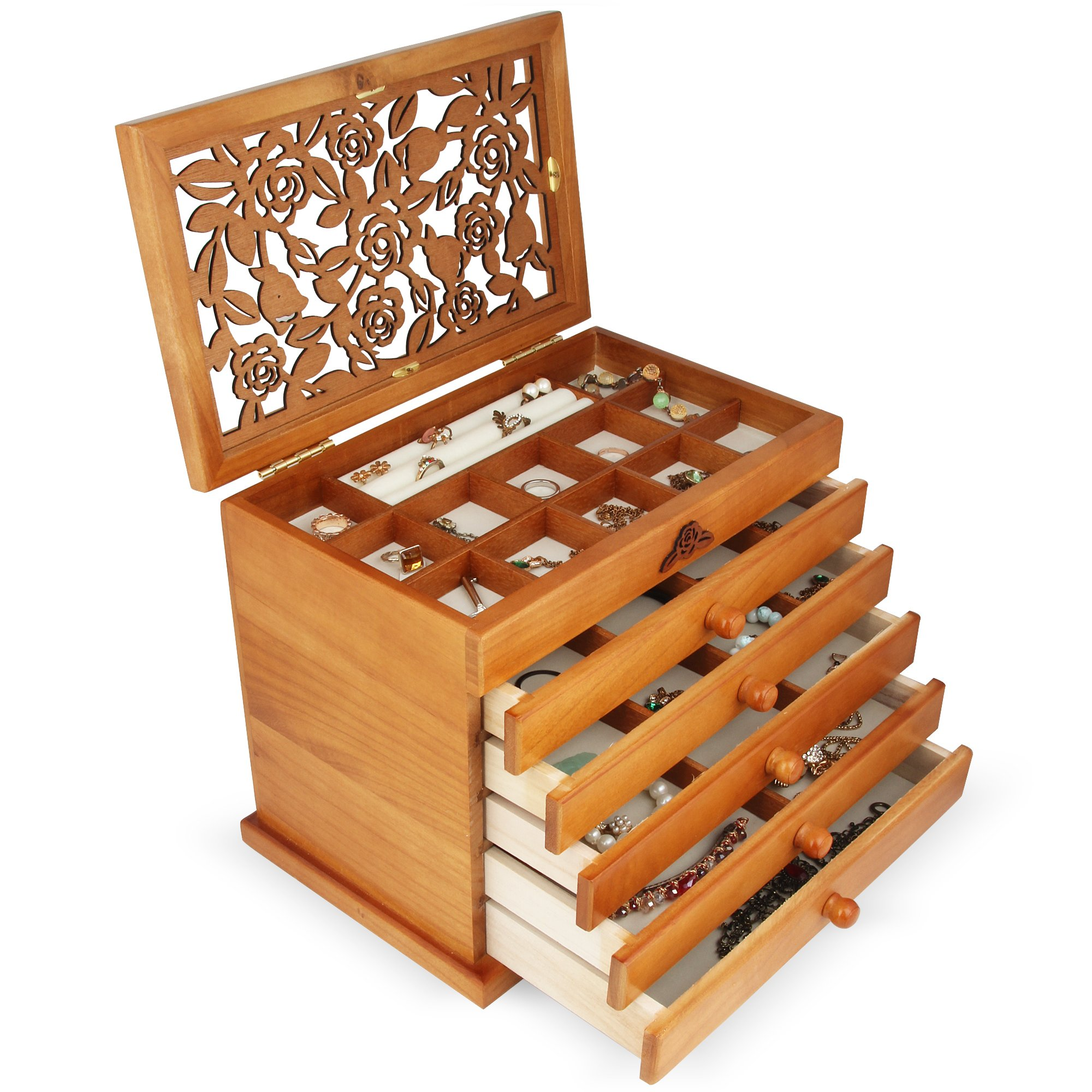 Real wood / Wooden Jewelry Box Case JC866 (Light Brown)