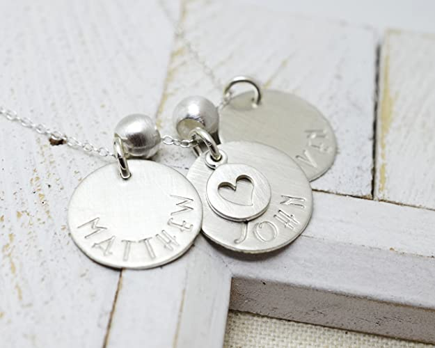 87f96b384 3 Disc Sterling Silver Necklace for Mom, Mother's Day Gift, Mommy Jewelry,  Grandmother