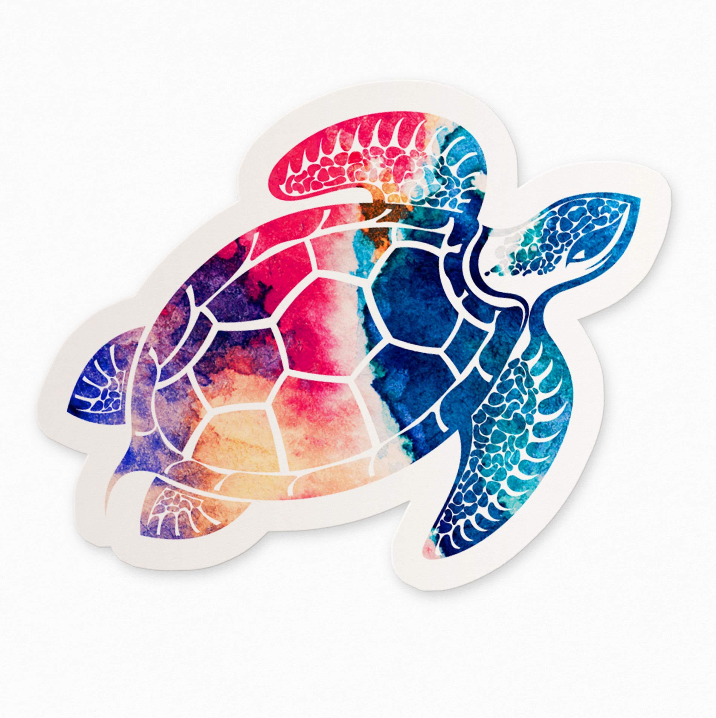 UNIQUE BRIGHT Watercolor Sea Turtle Bumper Sticker//Decal 4.5 X 4.75