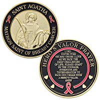 Hero's Valor St. Agatha Matron Saint of Breast Cancer Challenge Coin Prayer 1-Pack...