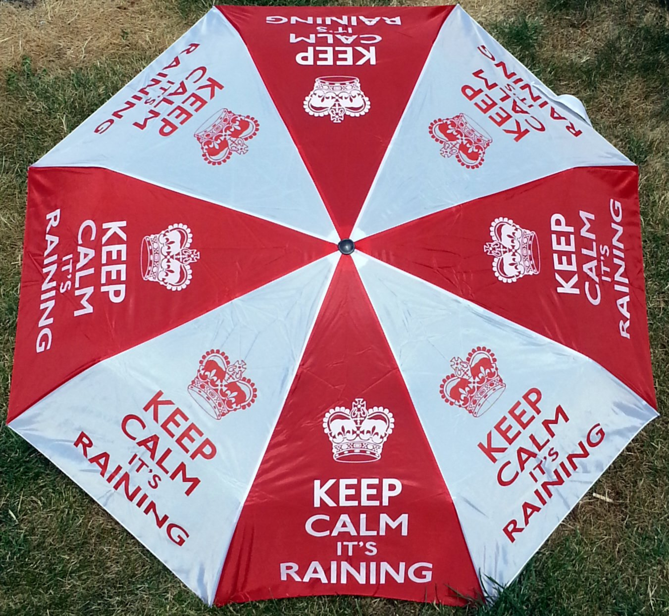 you need not panic Keep Calm its Raining Compact folding umbrella Fits easily in a bag or glove compartment so when it starts to rain