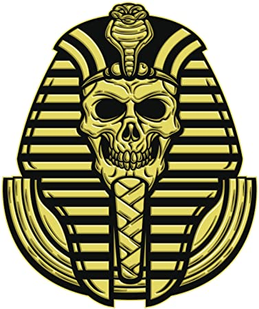 Egyptian pharaoh skull black gold vinyl decal sticker two in one pack 4 inches tall