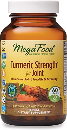 MegaFood, Turmeric Strength for Joint, Maintains Joint Health and Mobility, Vitamin and Herbal Dietary Supplement Vegan, 60 Tablets 30 Servings FFP