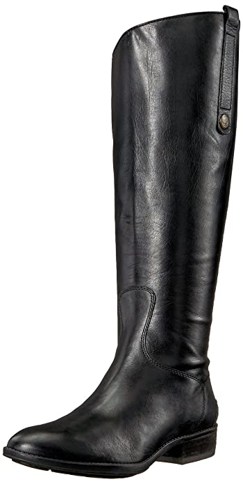 6927b8673 Sam Edelman Women s Penny 2 Equestrian Boot Black Leather 6 Wide US
