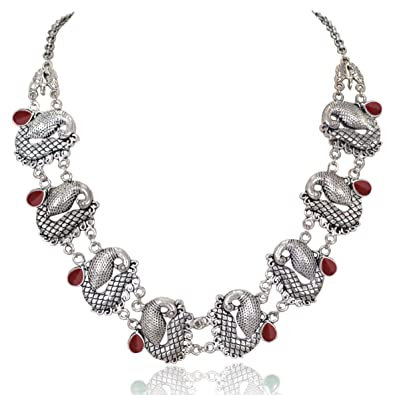 Costume Jewellery Indian Women Silver Oxidized Peacock Necklace Set Fashion Jewelry Wedding Gift