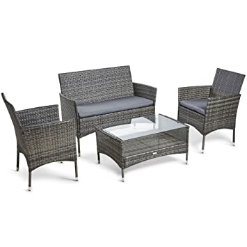 Vonhaus 4 Piece Rattan Sofa Set Cushioned Grey Outdoor Furniture