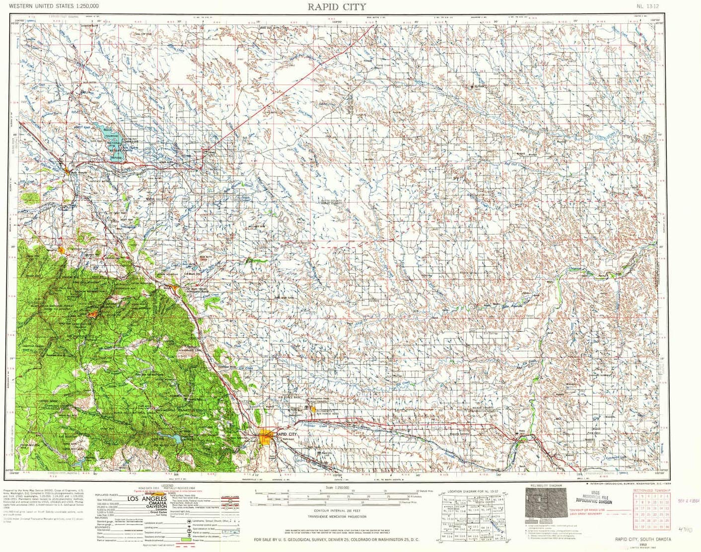 Amazon Com Yellowmaps Rapid City Sd Topo Map 1 250000 Scale 1 X 2 Degree Historical 1953 Updated 1964 22 X 29 2 In Paper Sports Outdoors