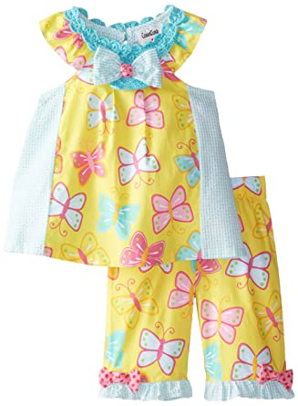 df89931db05a Rare Editions Baby Baby Girls' Butterfly Print Seersucker Capri Set, Yellow/ Mint,