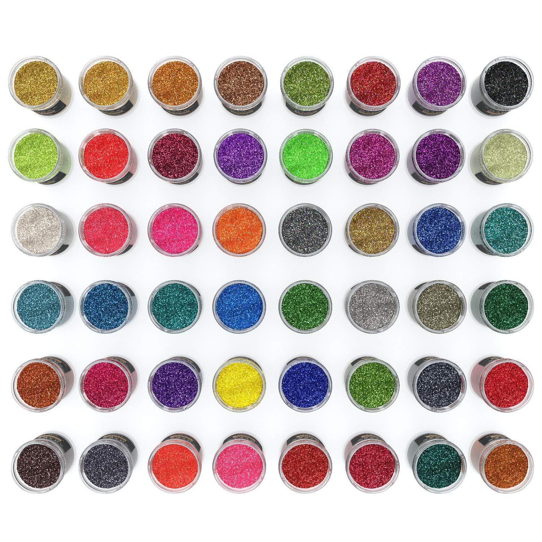 ARTEZA Fine Glitter, Set of 48 Colors, Shaker Jars (0.34oz/9.6 g) Glow Under UV Black Light, Extra Fine, All Purpose for Body, Face, Slime, Crafts by ARTEZA (Image #3)
