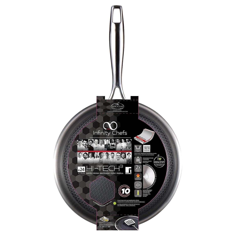 Wok 28x8.0cm Acero Inoxidable inducción Hi-Tech