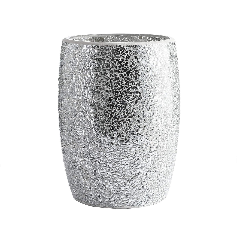 Glass Mosaic Decorative Trash Can Dia 7.5 H 10 Fan Shape Whole Housewares Bathroom Wastebasket