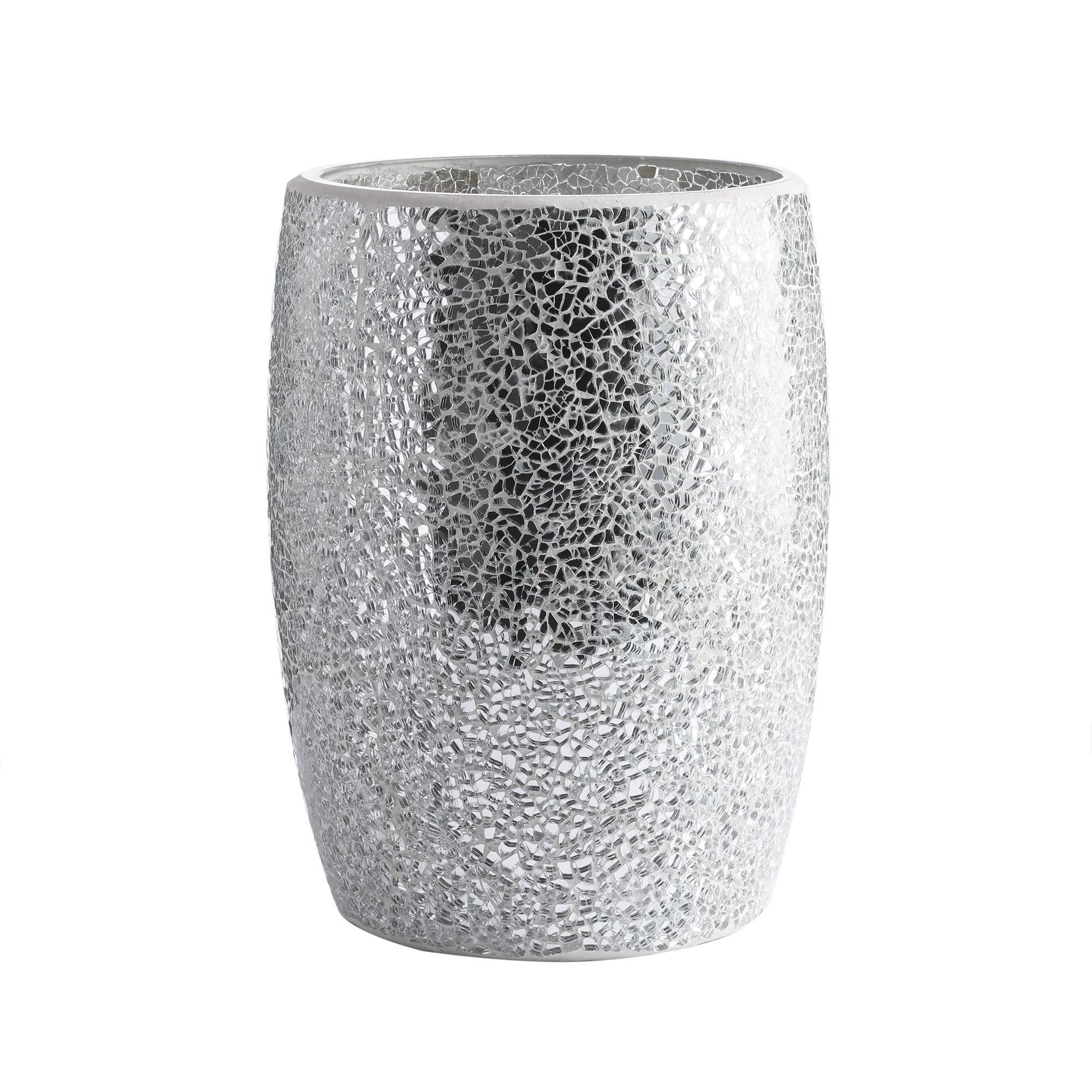 Whole Housewares Bathroom Wastebasket - Glass Mosaic Decorative Trash Can Dia 7.5'' H 10'' (Silver) by Whole Housewares