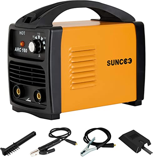 SUNCOO 110V ARC Welder, 160Amp Stick Welder Portable MMA AC Welding Machine with Work Clamp, Brush Mask, Orange