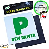 Magnetic P Plates by Le Yogi | Extra Thick Strong Magnet Design for Learner Drivers, BONUS Scenic Drive and Tips Ebook, Guaranteed To Not Fly Off At High Speeds, Government Approved Learner Plates, 2 Pack
