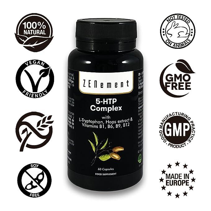 5-HTP Complex con L-triptófano, extracto de Lúpulo y vitaminas B1, B6, B9, B12, 60 Cápsulas, para el estado de ánimo, el sueño, el dolor, la ansiedad y la ...