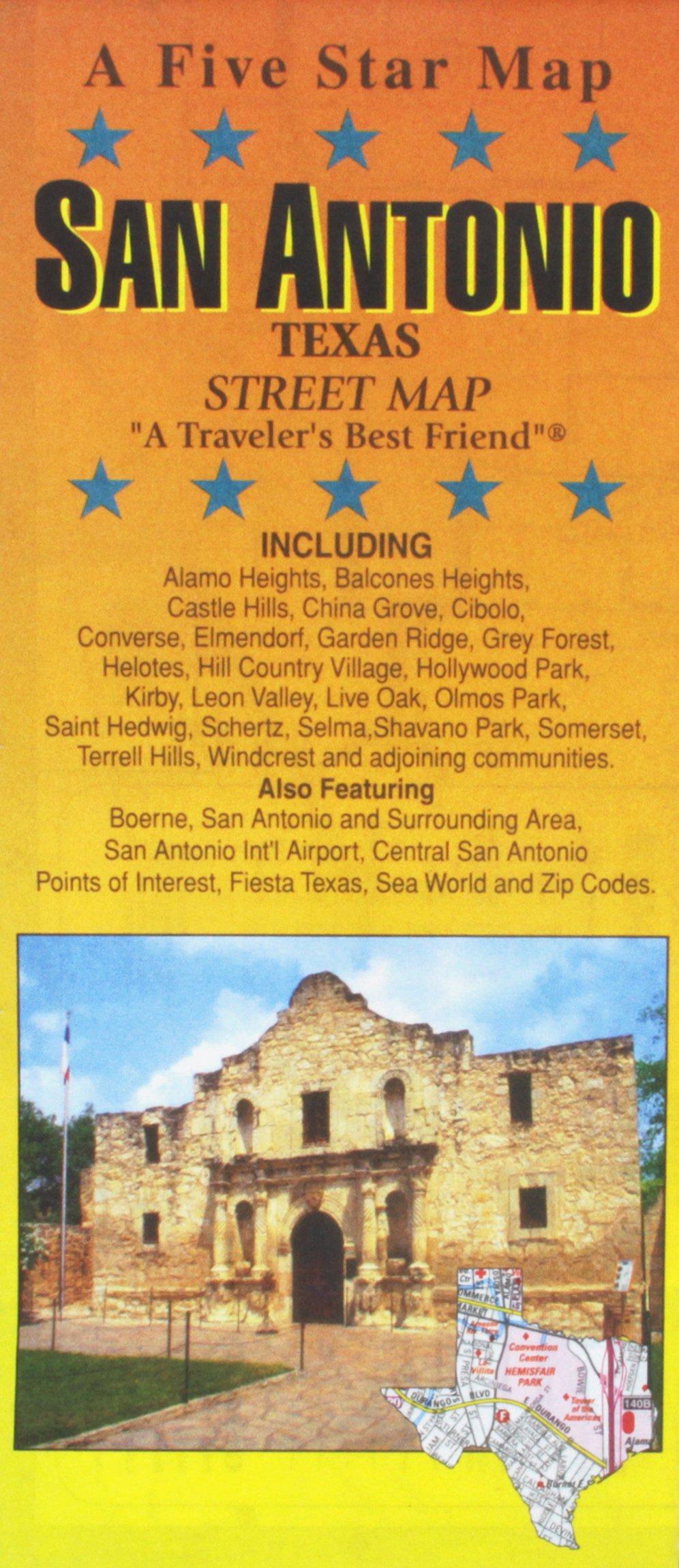 San Antonio, TX Street Map: Five Star Maps: 9781592141524 ... on alamo blueprints, brooke army medical center map, san francisco de asis mission map, alamo on us map, alamo area map, alamo colleges map, alamo mission layout, battle of alamo location map, alamo battle 1836 map, alamo city tx, alamo hawaii map, storming of bexar map, city of austin etj map, alamo battlefield map, alamo nevada map, san jacinto goliad texas map, the alamo map, alamo location on map, alamo original map, fort alamo map,