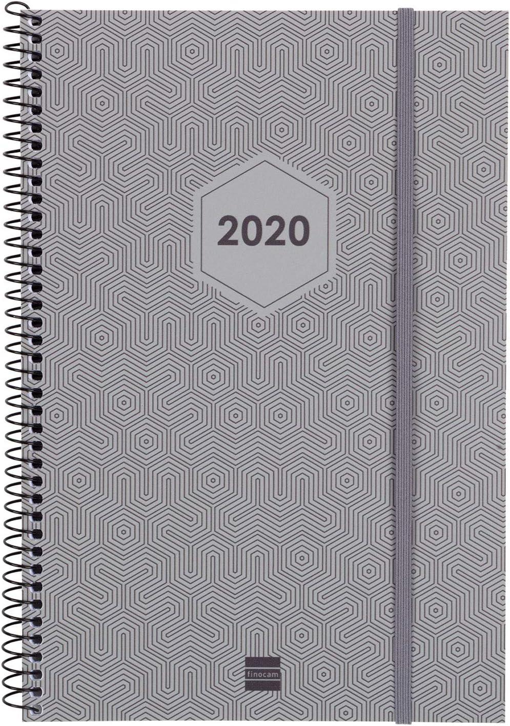 Finocam - Agenda 2020 semana vista vertical Espiral Futura Gris Claro catalán: Amazon.es: Oficina y papelería
