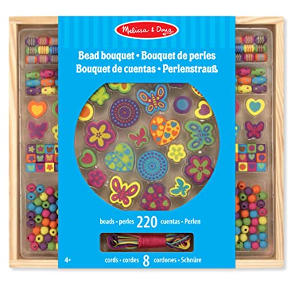 7cd3bdb80644 Amazon.com: Melissa & Doug Bead Bouquet Deluxe Wooden Bead Set with 220+  Beads for Jewelry-Making: Toys & Games